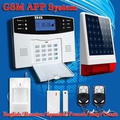Free Shipping!English Russian Spanish French Voice Wireless GSM Alarm system Home security Alarm systems LCD Keyboard Pet Sensor