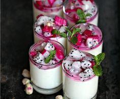 Tropical Coconut Milk Rice Pudding with dragon fruit & rambutans