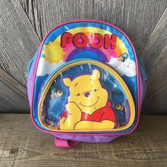 Vintage Pooh Backpack {90s Disney Pooh Kids Backpack School Book Bag Kindergarten} Winnie the Pooh Bright Small Tiny Mini Back Pack Rainbow This vintage Pooh backpack is perfect for the first day of kindergarten! Most backpacks are way too large for a kindergartner, but this is just Kids Backpacks, School Backpacks, Daddy's Little Boy, Age Regression, Kindergarten First Day, Outfits With Hats, Baby Time, Vintage Stuff, Baggage