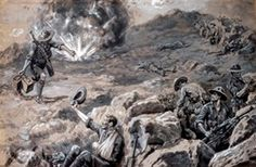 'Private C. R. Barker carrying up ammunition and water to the firing line under heavy fire. The difficulty of supplying the firing line on the mountain top at Chunuk Bair (Dardanelles) with ammunition and water was very great. But on August 8th 1915, Private Barker of the Wellington Battalion, New Zealand Force, rendered most valuable service in carrying both which were of vital necessity overground exposed to heavy fire. He also acted as guide to a regiment going up to reinforce.