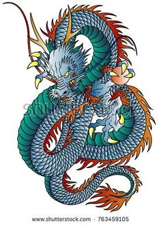 Illustration of Japanese style dragon illustration isolated on white. vector art, clipart and stock vectors. Dragon Tattoo Art, Dragons Tattoo, Dragon Artwork, Dragon Tattoo Designs, Chinese Dragon Art, Japanese Dragon Tattoos, Japanese Tattoo Art, Japanese Art, Japanese Style
