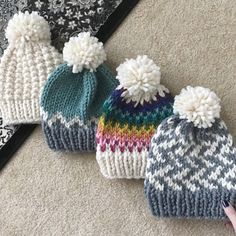 Easy knitting patterns and knitting projects for beginners. Knitting patterns available on peonyknit Fair Isle Knitting, Loom Knitting, Free Knitting, Knitting Supplies, Knitting Projects, Motif Fair Isle, Knitted Hats, Crochet Hats, Easy Knitting Patterns