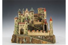 A German paper on wood toy castle, with cork ramparts, two layered with elaborate cut out two-dim Model Castle, Toy Castle, Cardboard Castle, Traditional Toys, The Saleroom, Victorian Dolls, Toy Soldiers, Wood Toys, Antique Toys