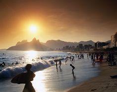 Rio de Janeiro, Brazil, Central + South America: Sunset along Ipanema beach in Rio de Janeiro, Brazil