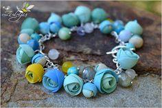 polymer clay bracelet with baby blue ranunculus by Zubiju