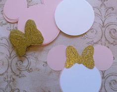 25 Pink Minnie Mouse Head Shapes White Circle Shapes Gold Glitter Bows- Die Cut pieces for DIY Birthday Party Invitations