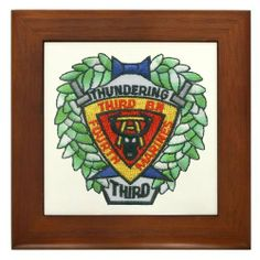 """3/4 Marines Framed Tile by CafePress by CafePress. $15.00. Frame measures 6"""" X 6"""" x 0.5"""" with 4.25"""" X 4.25"""" tile. Two holes for wall mounting. 100% satisfaction guarantee return policy. Quality construction frame constructed of stained Cherrywood. Rounded edges. Printed with 34 Marines Battalion Crest The Thundering Third. 34 is part of 1st Marine Division out of 29 Palms, California."""