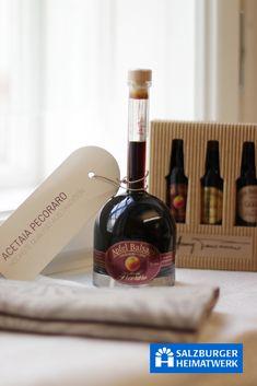 Salzburger Heimatwerk. Ein absoluter Genuss-Rarität: Aceto Balsamico viele Jahre gereift! Red Wine, Alcoholic Drinks, Traditional, Food, Schnapps, Gifts, Cooking, Essen, Liquor Drinks