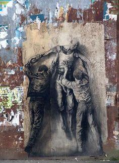 One of the first street artist  Ernest Pignon Ernest - Querelle de Brest