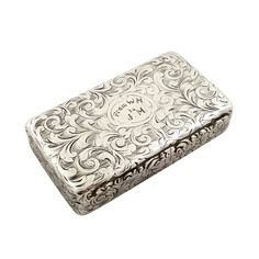 ANTIQUE EARLY VICTORIAN STERLING SILVER SNUFF BOX 1840