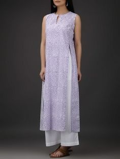 Ivory-Purple Block-Printed Front Slit Cotton Kurta