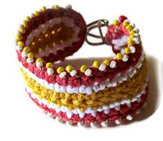 Yellow & Coral Striped Beaded Bracelet by LionessXpressions, $20.00