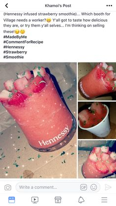 Hennessy hineingegossener Erdbeeresmoothie Source by chloieu Related posts: No related posts. Candy Drinks, Liquor Drinks, Cocktail Drinks, Fun Drinks, Alcoholic Drinks, Cocktails, Strawberry Hennessy, Strawberry Smoothie, Hennessy Drinks