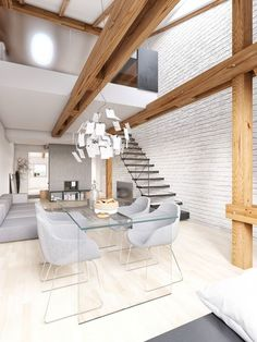 The final space, which is a flat in Prague, is modern and enviable in its simplicity. We see how white can overtake a space and bring an undeniable warmth. The white painted brick contrasts with the exposed wood beams for a mishmash of the rustic and the sophisticated.:
