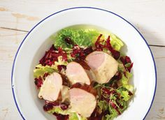 Salad with maple pork and brie dressing