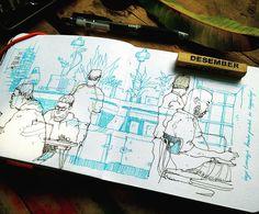 working from cafe. black ink + light blue ink on sketchbook