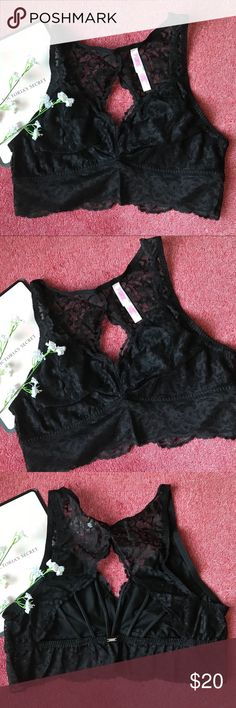 L VS Unlined Lace Strappy Back Bralette VS PINK Unlined Lace Strappy Back Bralette  Beautiful lace back Bralette~~  Condition: New In Package Size: Large Color: Black PINK Victoria's Secret Intimates & Sleepwear Bras