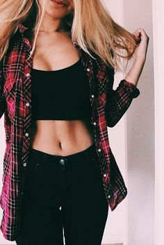 #street #style black crop top + plaid @wachabuy