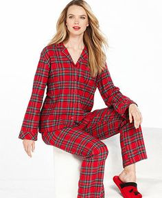 9d93ed6ab0 Flannel Pajamas For Women · Charter Club Holiday Lane Flannel Top and Pajama  Pants Set - Lingerie - Women - Macy s