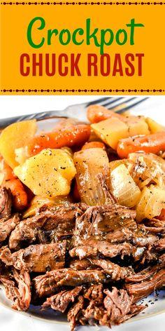 This easy Crock Pot Chuck Roast or Pot Roast or Beef Roast recipe, with roasted . - This easy Crock Pot Chuck Roast or Pot Roast or Beef Roast recipe, with roasted . Crock Pot Chuck Roast, Chuck Roast Recipes, Beef Pot Roast, Pot Roast Recipes, Slow Cooker Beef Roast, Easy Pot Roast, Slow Cook Beef Recipes, Roast Brisket, Crock Pot