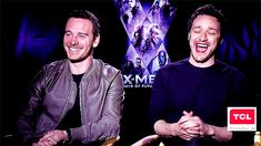 """James McAvoy and Michael Fassbender.  """"Don't shoot!""""  interviewer talking about Michael's weapon lol"""