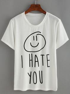 White Letters Print T-shirt -SheIn(Sheinside)