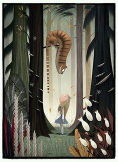 by Julia Sarda - Alice in Wonderland Fan Art, Illustration, Character Design Art And Illustration, Fantasy Kunst, Fantasy Art, Julia Sarda, Chesire Cat, Cheshire Cat Drawing, Character Design Cartoon, Desenho Tattoo, Adventures In Wonderland