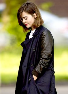 Jenna Coleman filming in Cardiff, Wales - 11 May 2015