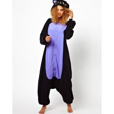 Kigu Midnight Cat Onesie ($44) ❤ liked on Polyvore featuring black