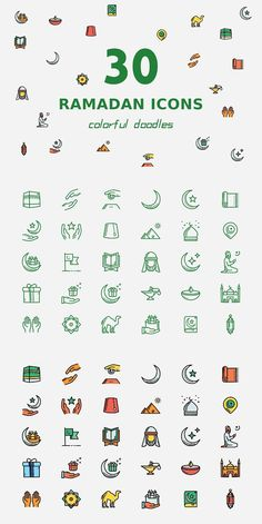 Ramadan Icons - A set of 30 colorful doodles for Ramadan in two styles: outlines and colored Get this as part of a bundle and save BIG! Ramadan Day, Ramadan Gifts, Ramadan Photos, Banner Design Inspiration, Doodle Inspiration, Ied Mubarak, Ramadan Poster, Eid Stickers, Ramadan Activities