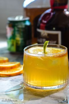 For one festive drink, try serving this  Jack-O-Lantern Cocktail at your costume party! It's an incredible recipe for Halloween and any fall get-togethers. Garnish your drink with an orange slice and a lime twist to make it look like a pumpkin!