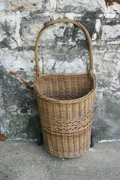 Antique French Wicker Market Cart