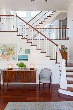 A couple purchased a spec home on Sullivan's Island, South Carolina, commissioning designer Cortney Bishop to infuse laid-back, west coast style luxury. House Of Turquoise, Interior Exterior, Interior Design, Interior Decorating, South Carolina Homes, Sullivans Island, Charleston Homes, Humble Abode, Stairways