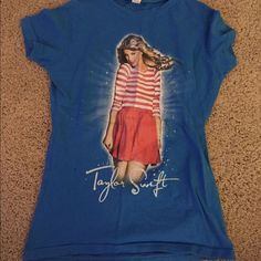Taylor swift speak now concert tour tshirt!!! This is a super cute blue Taylor swift concert Tshirt from her tour Speak Now. The back of the shirt includes all the places she toured for this album tour. Tultex Tops Tees - Short Sleeve
