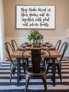 Home Remodel Modern Farmhouse dining room inspiration. Combining stripes with floral prints.Home Remodel Modern Farmhouse dining room inspiration. Combining stripes with floral prints. Farmhouse Dining Room Table, Dining Room Walls, Dining Room Design, Rustic Farmhouse, Farmhouse Design, Farmhouse Ideas, Dining Tables, Dining Area, Metal Dining Room Chairs