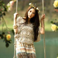 hairpin lace crochet tunic