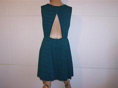 ALYA Dress Sz L Juniors Open Back Sleeveless Striped Stretch Elastic Waist #Alya #Sexy #Casual