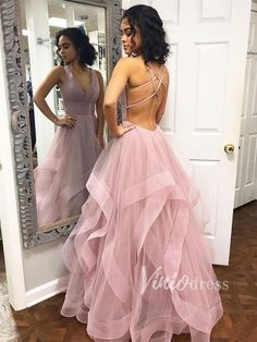 Robe De Soiree Evening Dress Long 2019 Tulle V-Neck Formal Dress Women Party Dre. Unique Prom Dresses, Pink Prom Dresses, Backless Prom Dresses, Formal Dresses For Weddings, Tulle Prom Dress, Formal Dresses For Women, Homecoming Dresses, Maxi Dresses, Evening Dress Long