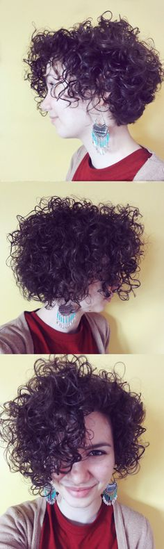 "Short and Curly Inverted Bob! Cut to appear ""round"" in the back so there is no ""shelf"" by making lots of layers. Short hairstyles also look great with a pair of funky earrings!"