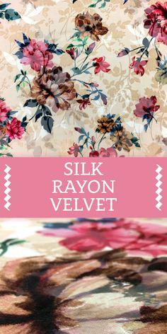 Italian Silk Rayon Burnout Velvet With Floral Motif