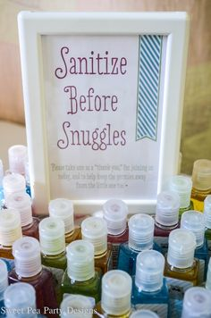 Stay carefree and germ-free wherever you go with our exclusive travel size personalized baby shower hand sanitizers. Give these handy favors as unique baby shower favors-your guests will be grateful! A drop a day will keep the germs away! Décoration Baby Shower, Fiesta Baby Shower, Shower Bebe, Baby Shower Party Favors, Baby Shower Parties, Baby Boy Shower, Baby Shower Gifts For Guests, Baby Shower Ideas On A Budget, Diaper Shower