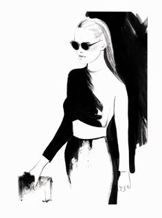 """The Smart Set"" inspiration: A personal transformation starts with you picking who you want want your best self to be. - Levnow Fashion Illustration, drawings, women Ausländer Fashion Show Winter 2014 with Yasmin Brunet. By Kornelia Debosz"