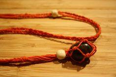 Chiastolite Orange Hemp Wrapped Necklace  by GypsyJasper on Etsy, $21.95