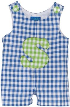 $6.98-$25.99 Baby Mud Pie Initial Baby Initial S Shortall, Blue/White, 0-6 Months -  http://www.amazon.com/dp/B004LVOXWU/?tag=pin2baby-20