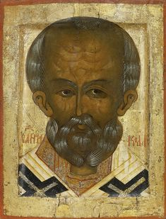 Detailed view: MM082. Saint Nicholas the Wonderworker- exhibited at the Temple Gallery, specialists in Russian icons
