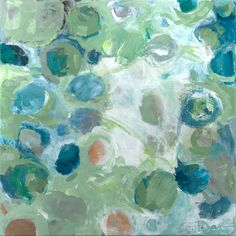 Original Abstract Acrylic Painting by EdieFaganArt on Etsy.  A contemporary painting in blues and greens.