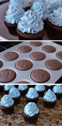Blue Buttercream Cakes   21 DIY Baby Shower Party Ideas for Boys that will make you go goo goo!