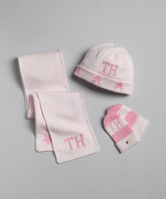 Tommy Hilfiger : BABY pink striped cotton scarf, hat and mitten set : style # 318087201