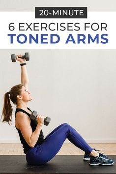 6 Best Exercises for Toned Arms At Home is part of fitness Videos Tracker Armband - toned arms! This arm workout with dumbbells targets your biceps, triceps, shoulders, chest + back muscles for a total upper body workout at home Dumbbell Arm Workout, Tone Arms Workout, Arm Toning Exercises, Morning Exercises, Training Exercises, Dumbbell Exercises, Arm Workouts, Fitness Exercises, Senior Fitness