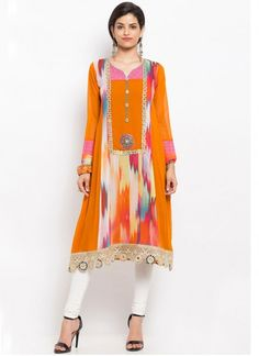 Paramount Faux Georgette Orange Print Work Party Wear Kurti